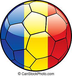 Romania flag on soccer ball - vector illustration of Romania...