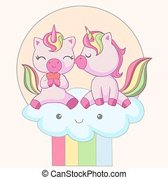 Romantic couple of unicorns sitting on a clouds