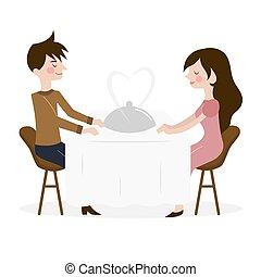 Vector illustration of romantic date of man and woman in...