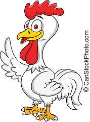 Rooster cartoon waving