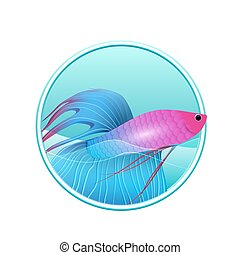 Vector illustration of rooster fish and sea in the circle for logos, icons, design elements for your creativity
