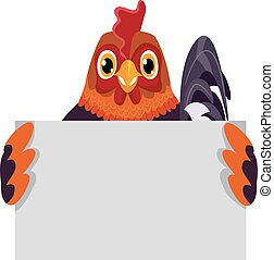 Rooster Holding a Blank Board
