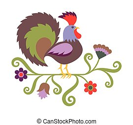 Vector illustration of rooster in folk art style