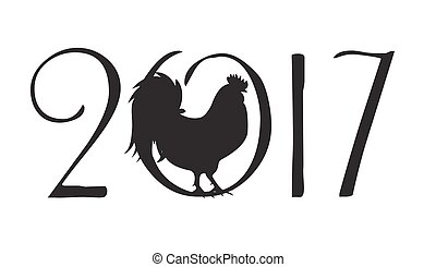 Vector Illustration of  Rooster, Symbol of 2017 Year on the Chinese Calendar