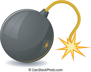 Vector illustration of round bomb with a fuse
