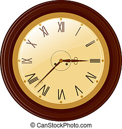 Vector illustration of round clock with Roman numerals
