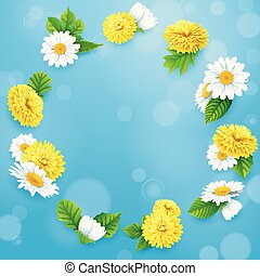 Round frame of flowers on blue sky background