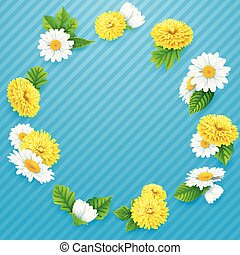 Round frame of flowers on striped blue background