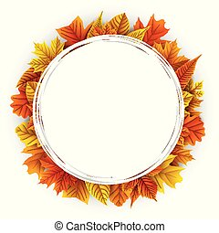 Round frame with autumn leaves isolated on white background
