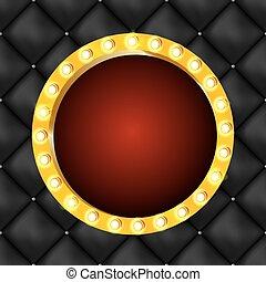 Vector illustration of round retro light frame isolated on dark background.