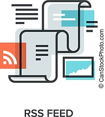 Vector illustration of RSS feed flat line design concept.