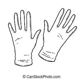 Vector black and white contour illustration of rubber gloves isolated on white background.