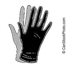 Vector black and white illustration of rubber gloves isolated on white background.
