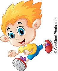 Running boy cartoon