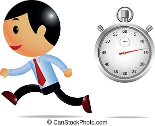 Running businessman and stopwatch