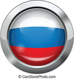 Russian flag metal button