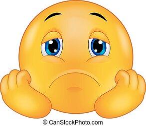 Vector illustration of Sad smiley emoticon cartoon