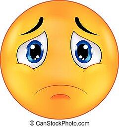 Sad smiley emoticon cartoon - Vector illustration of Sad ...