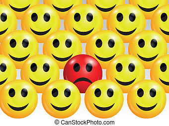 Sad smiley face among happy ones - Vector illustration of...
