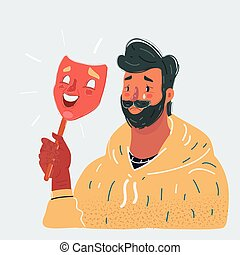Vector illustration of sadman with dissapointment expression on his face under happy mask. Close up view character on white background.
