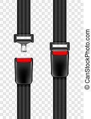 Vector illustration of safety seat belt, open and closed seatbelt isolated on transparent background.