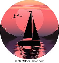 vector illustration of sailing boat. sail in the sea. sail in the ocean. boat at sunset. boat at sunrise. sail logo.