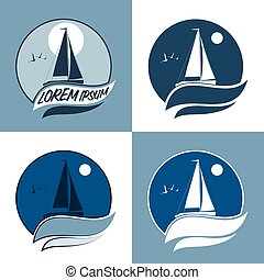 vector illustration of sailing boat. sail in the sea. sail in the ocean. sea sport. sail set.
