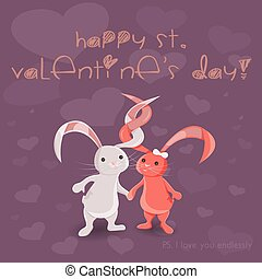 Vector Illustration of Saint Valentines Day with Two Bunnies and I Love You Endlessly