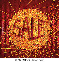 Vector illustration of sale label on red background