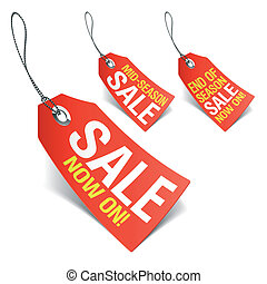 Sale now on and Season sale tags - Vector illustration of ...