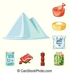 Vector illustration of salt and food icon. Set of salt and mineral vector icon for stock.