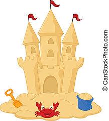 vector illustration of Sand castle cartoon
