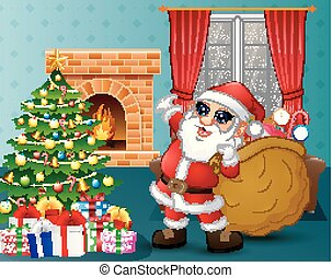 Santa bringing a sack of candy in the living room with Christmas and new year decoration