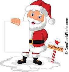 Santa cartoon holding blank paper