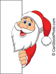 Santa cartoon with blank sign - Vector illustration of Santa...