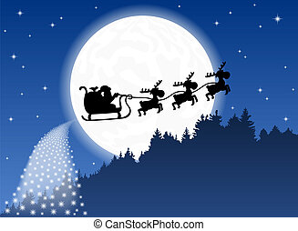 Santa Claus and his reindeer sleigh backlit by the full moon
