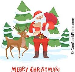 Santa Claus and reindeer Christmas tree.