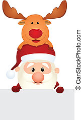 Santa Claus and Reindeer with blank