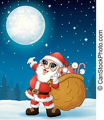 Santa Claus carrying sack full of gifts in the winter night background