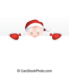 Vector illustration of Santa Claus cartoon character emotion cheerful for a blank sign, web header page.