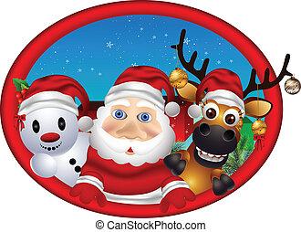 santa claus ,deer and snowman