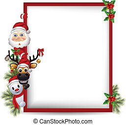 vector illustration of santa claus ,deer and snowman