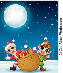 Santa claus kid with cartoon elf and a sack full of gifts in the winter night background