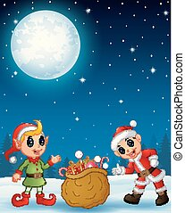 Santa claus kid with cartoon elf present a sack full of gifts in the winter night background