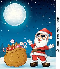 Santa Claus presenting sack full of gifts in the winter night background