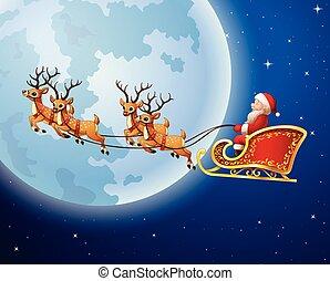 Santa Claus rides reindeer sleigh against a full moon...
