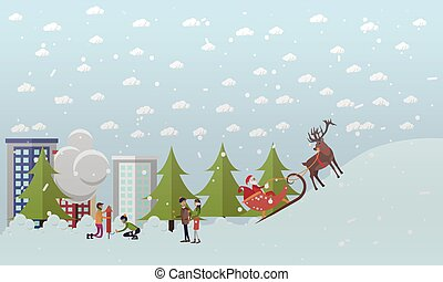 Vector illustration of Santa Claus riding sleigh in flat style
