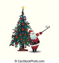 Vector illustration of Santa Claus taking selfie using smartphone camera and stick.