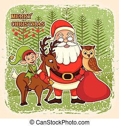 Santa Claus with deer and Elf for Merry Christmas