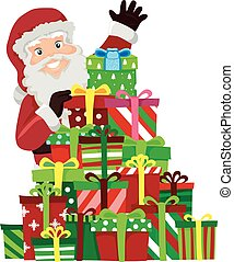 Santa Claus with Piles of Christmas Gifts